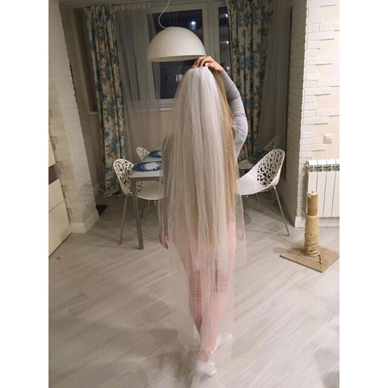 2017 New Wedding Bridal 2 Meters Long Veil Two Layers With Comb Elegant Wedding White /Ivory Accessories Veils Vestido De Noiva