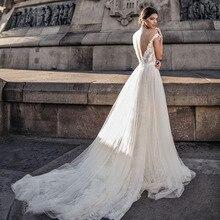 NOBLE BRIDE Wedding Dresses Boho Cap Sleeve V-Neck A-Line