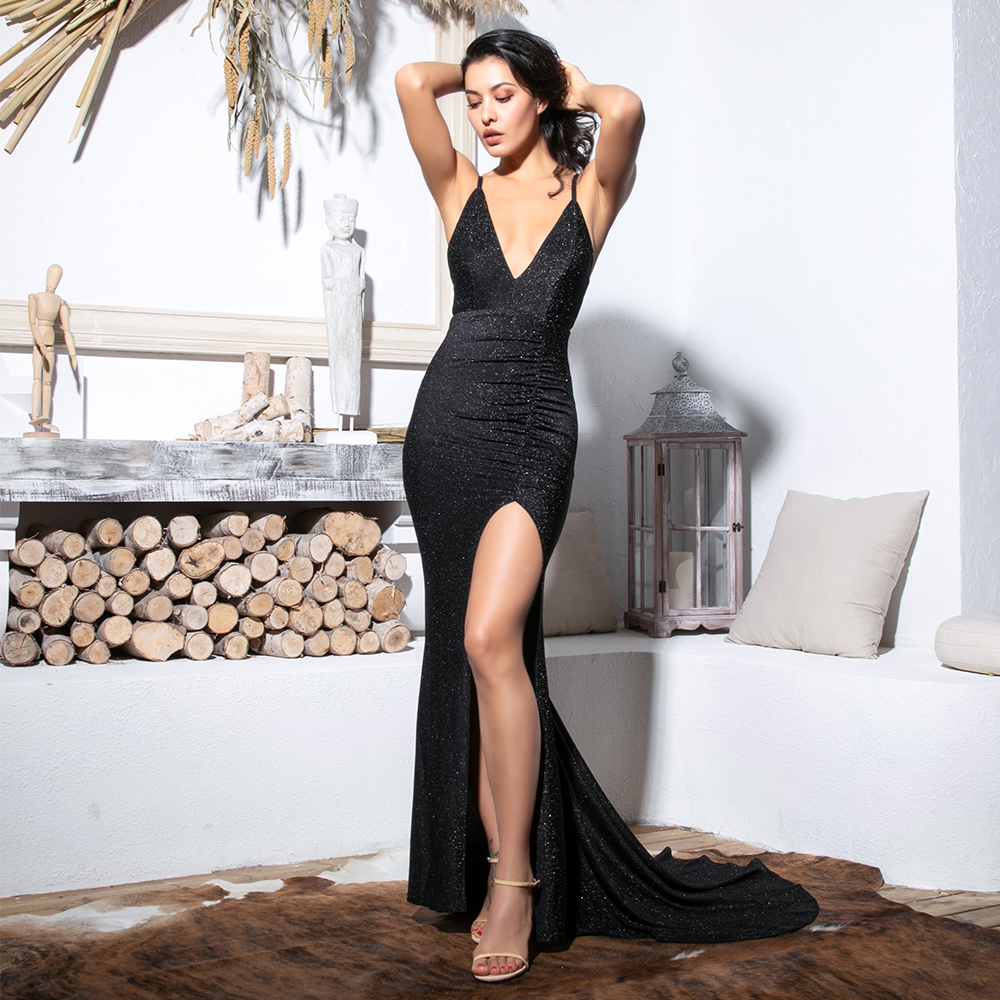 Love&Lemonade Sexy Black Deep V-Neck Cut Out Bodycon Shiny Elastic Fabric Maxi Dress LM81709-1 3