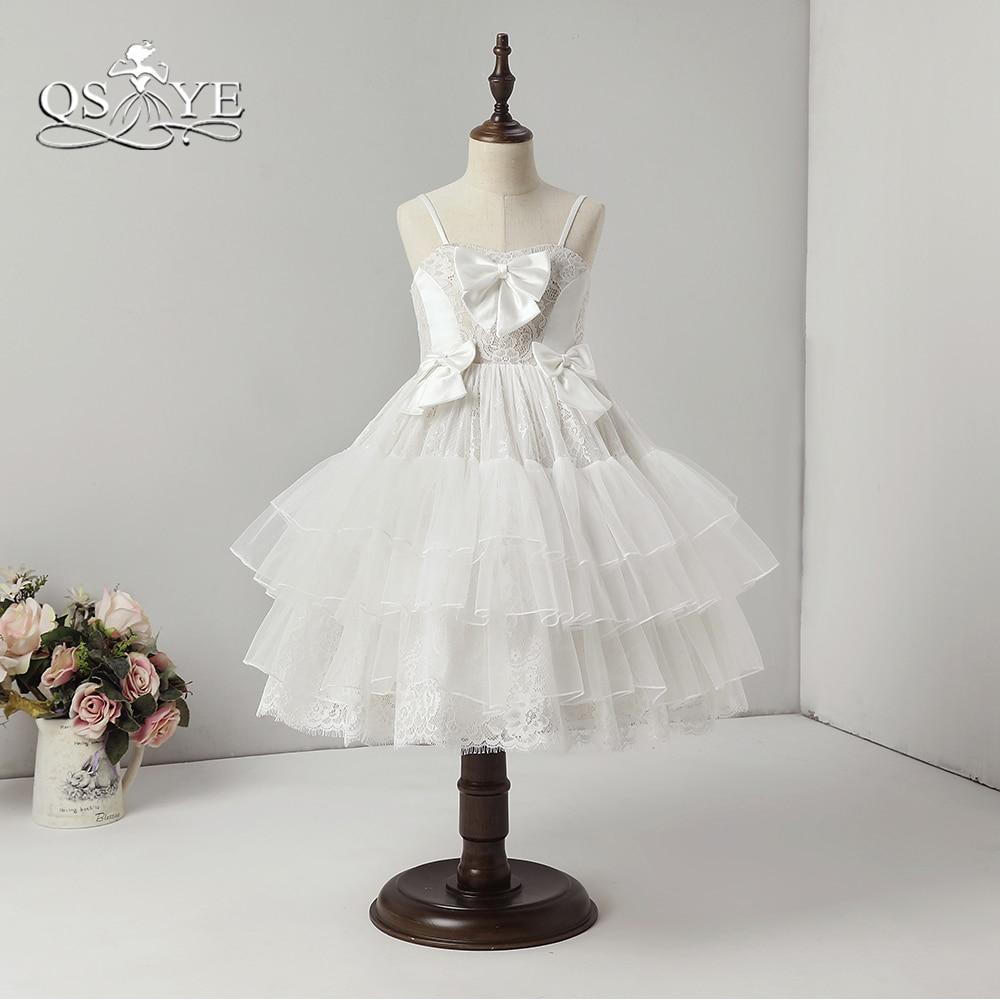 QSYYE White Lace   Flower     Girl     Dresses   Ball Gown Knee Length Tulle Spaghetti Stras Ruffles Skirt   Girls   First Communion   Dress