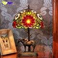 Фумат стеклянная настольная лампа креативный Европейский стиль прикроватная лампа витражный стеклянный абажур для отеля бар гостиная мал...