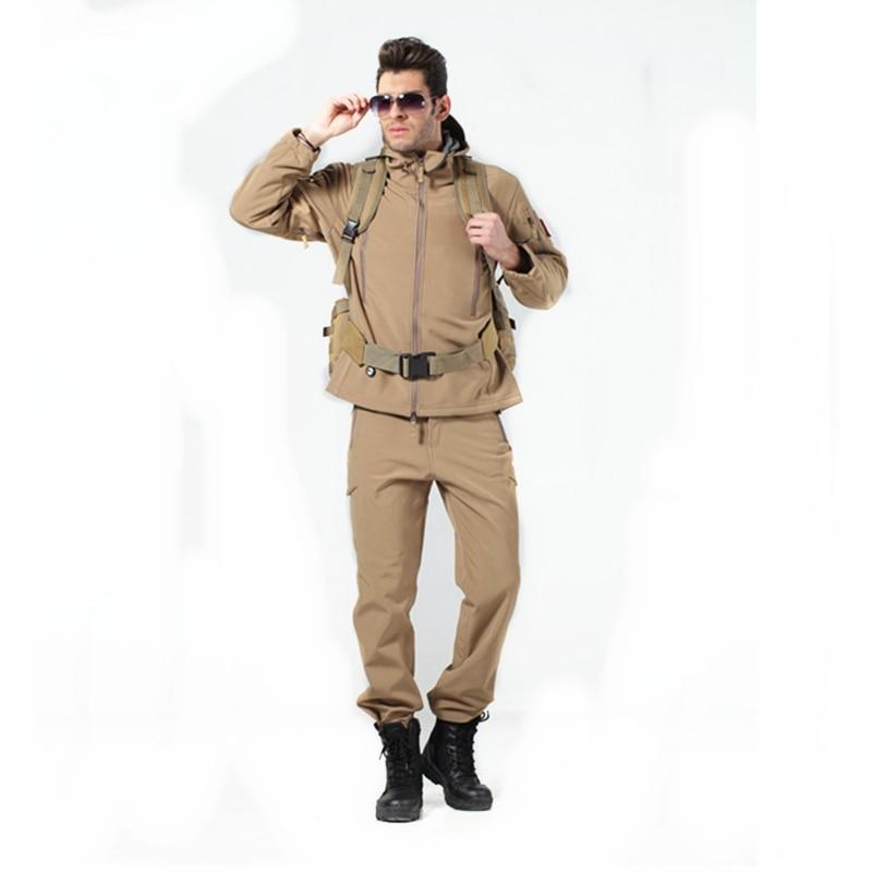 Men's Soft Shell Jacket Lightweight Water Resistant Tactical Fleece Jacket with Combat Pants Tactical Uniform Tan cp acu camo water resistant nylon fleece jacket for pet dog black size s