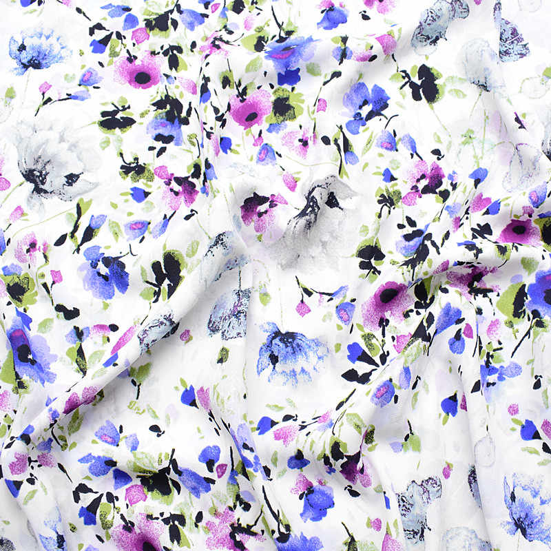 2019 new thickened ramie chiffon fabric spring and summer printed fabric white background plants messy flowers do not show