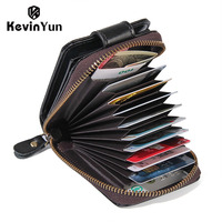 KEVIN YUN fashion vintage genuine leather men card holder large capacity ID credit card case wallet