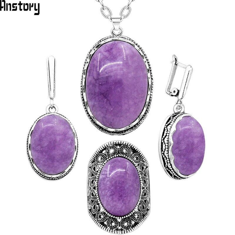 Violeta Oval Natural Pedra Jóias Conjuntos de Colar Brincos Anéis Conjuntos Para As Mulheres Pingente de Flor Antigo de Prata Banhado Sets Partido