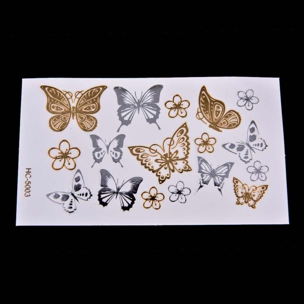 Золотая Бабочка, 3d временная татуировка, боди-арт, вспышка, тату, наклейка, 11*6 см, водонепроницаемая, тату, домашний декор, Настенная Наклейка
