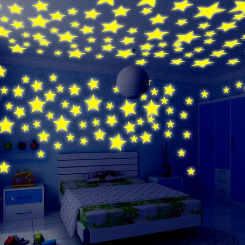 100pcs Stars Moon Glow In The Dark Star Stickers Kids Ceiling Wall Decor Chic