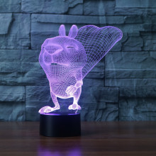 3D 7 Color LED Squirrel Lampe Lighting Touch Switch Luminaria Desk Lava Lamp for Child Acrylic bedroom Decor Gift