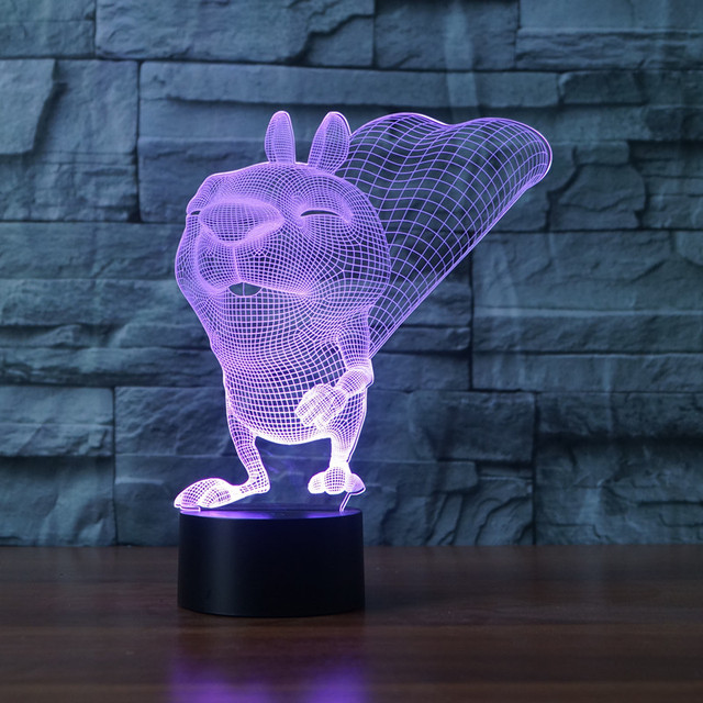 3D 7 Color LED Squirrel Lampe Lighting Touch Switch Luminaria Desk ...