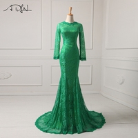 2015 Long Sleeve Evening Dresses Vintage Green Lace Mermaid High Neck Court Train EveningFormal Gowns For