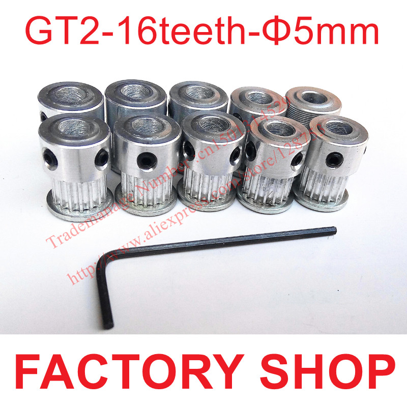 5//10pcs 5mm Bore 6mm Width Drive Pulley Hardware GT2 16 Timing Belt