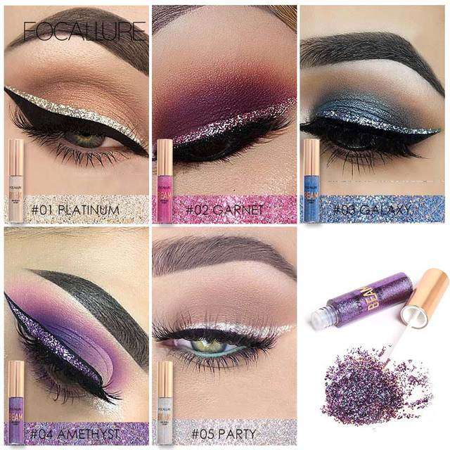 FOCALLURE 5 Colors Glitter Eyeliner Eyeshadow For Easy to Wear Waterproof Liquid Eyeliner Makeup Glitter Eye Liner 1