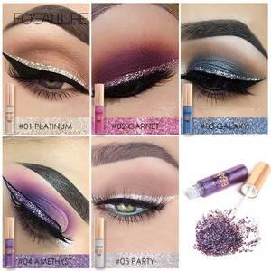 Image 2 - Focallure 5 cores glitter eyeliner sombra para fácil de usar à prova dwaterproof água líquido delineador maquiagem brilho olho forro