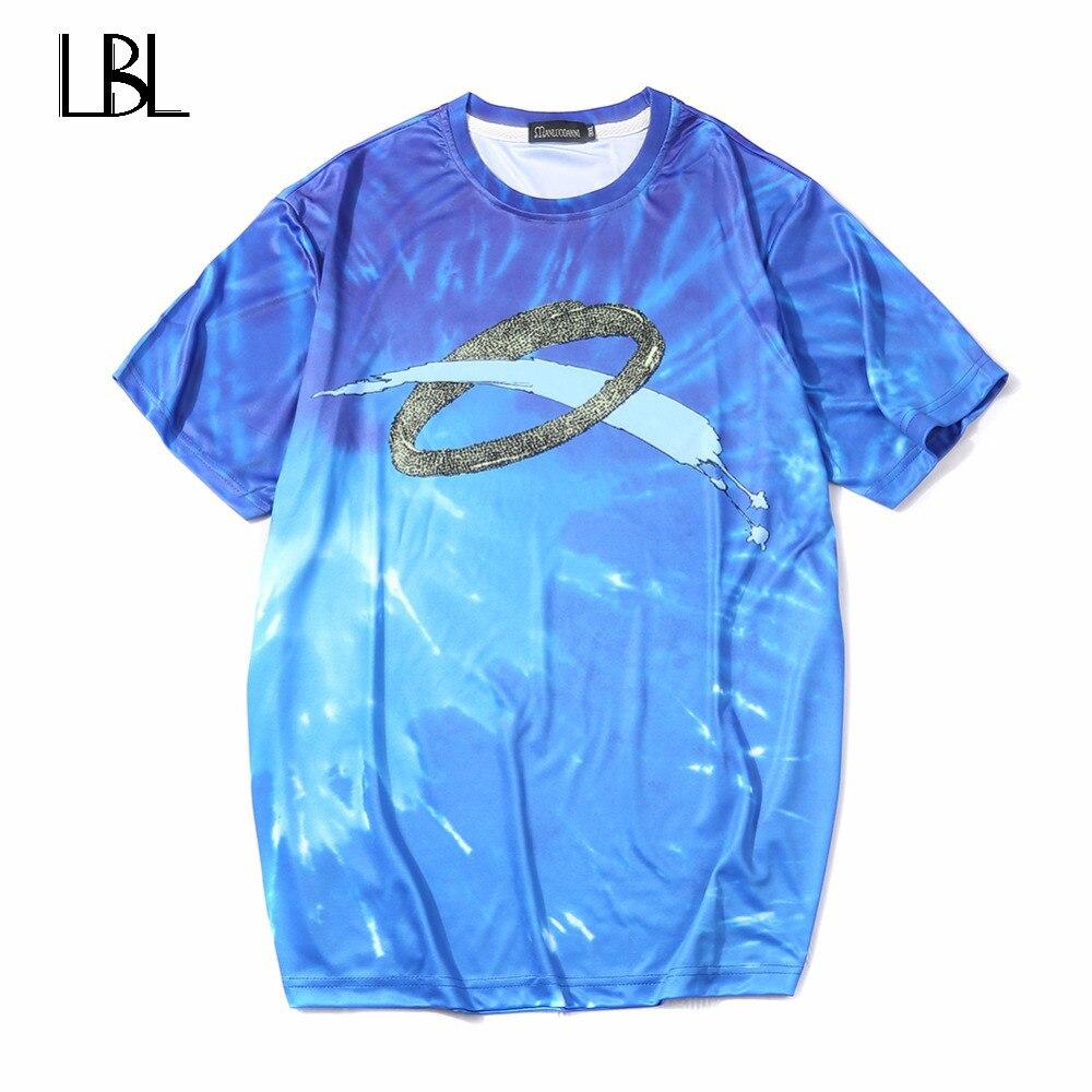 Europe Size Men T Shirt Fitness Camisetas 2018 Famous Brand T-Shirt Men Luxury 3D Milky Way Hip Hop T Shirt Men Cotton Tshirt
