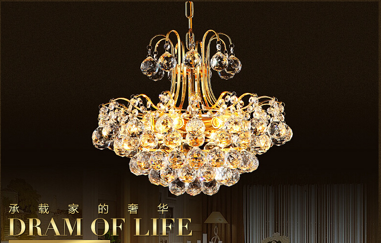 Free Shipping D450mm Luxury K9 crystal chandelier lamp  K9 Golden crystal Hotel Hall Light LED Crystal Pendant 100% Guaranteed