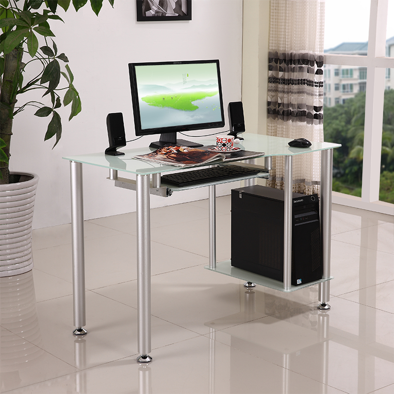 glass top modern computer desk table office furniture 14931 | glass top modern computer desk table office furniture simple and stylish black home bedroom child study