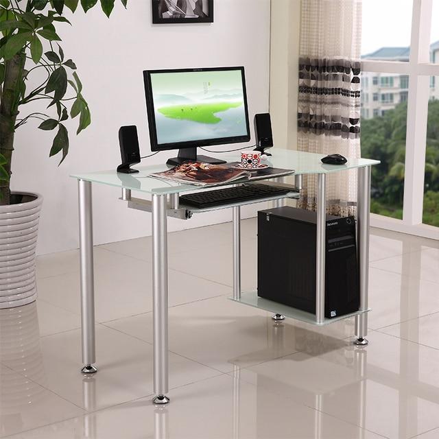 tapa de cristal moderna mesa de muebles de oficina escritorio de la computadora negro simple y