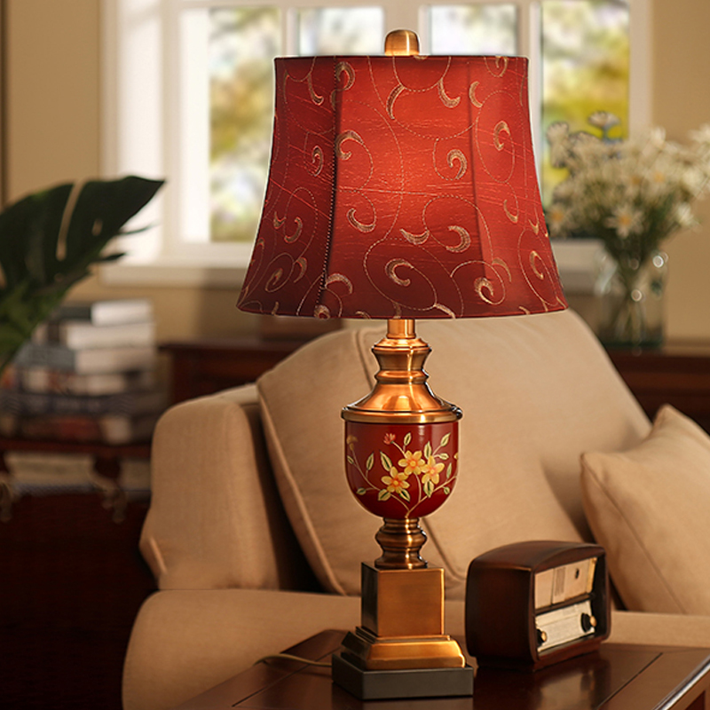 US $89.85 |Red Table Lamp For Living Room Bedroom Bedside Lamp Resin Hand  Drawn Paiting Table Lamp Classical Embroidery Cloth Table Lamp-in Table ...