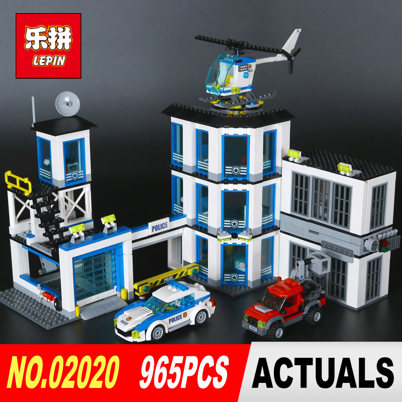 Lepin 02020 965Pcs City Series The New Police Station Set Children Educational Building Blocks Bricks Boy Toys Model Gift 6014 lepin 02006 815pcs city police series the prison island set building blocks bricks educational toys for children gift legoings
