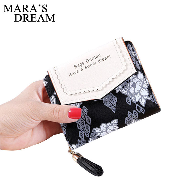 Mara's Dream Floral Square Women Coin Purses Holders Wallet Female PU Leather Tassel Pendant Money Wallets Zipper Clutch Bag