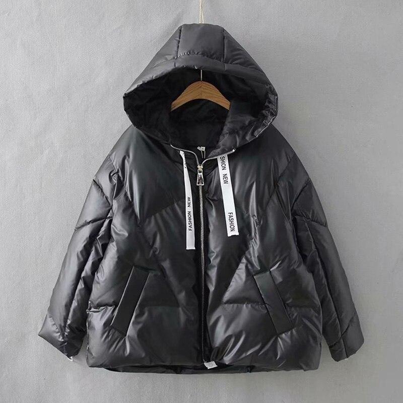 2019 hiver brillant à capuche vers le bas Parka femmes rubans vestes grande taille hiver chaud épais Parka lâche manteau hiver femmes veste