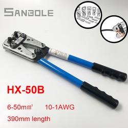 HX 50B szczypce do zaciskania ręczne narzędzie do zaciskania końcówek zaciskarka do przewodu ręcznego z grzechotką do kabla 6 50mm2 1 10AWG w Kombinerki od Narzędzia na