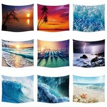 купить Sun Sea Tapestry Ocean Beach Wall Hanging Water Landscape  Decoration Blue Cloud Blue Frothy Blanket Polyester Handmade Tapestry дешево