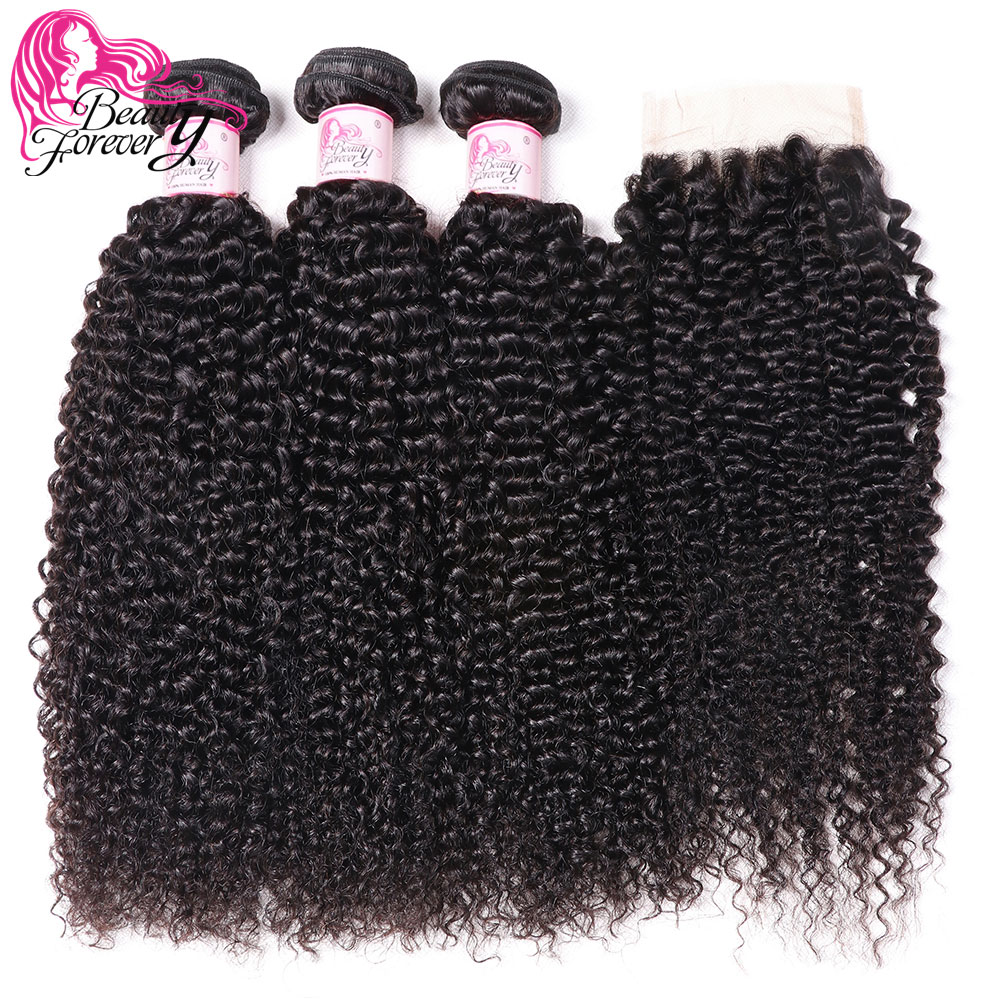Beauty Forever Malaysian Kinky Curly Human Hair Bundles With Closure 4 4 Free Part 100 Remy