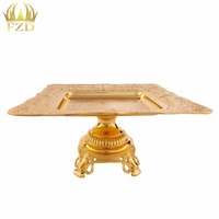 1 Piece Metal Gold Fruit Serving Tray Golden Candy Plate Dessert Blows For Wedding Party Supplies