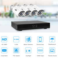 Hiseeu 8CH 4CH 1080P HD NVR Kit POE CCTV System 4PCS 2MP Outdoor IP Camera IP66