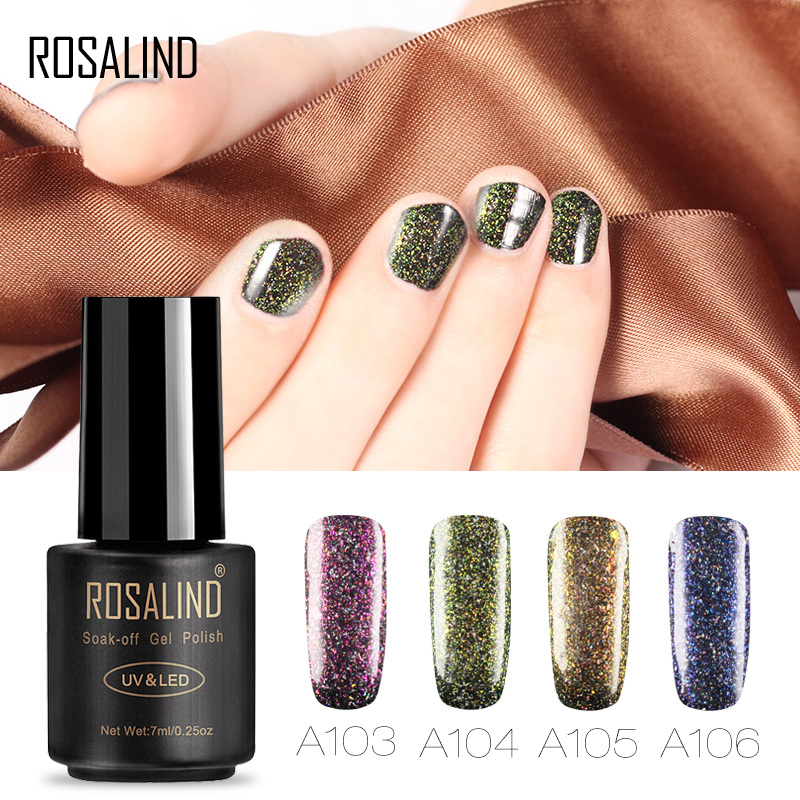 Rosalind 3D Shimmer Glitter Platinum Gel Polish LED UV Lamp Charming Color UV Nail Polish 7ML Semi Permanent Gel Lacquer