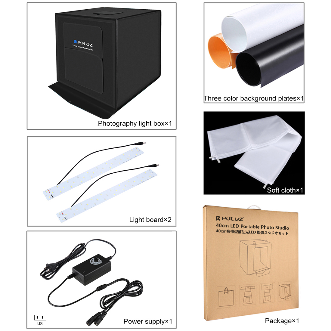 40cm Mini Photography Stutio LED Light Softbox Portable Desktop Soft box +US Plug + 3 Pieces Background Accessories + Soft Cloth