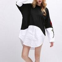 2017 Women S Blouses Fake Two Pieces Long Shirt Irregular Women Fashion Tops Black White