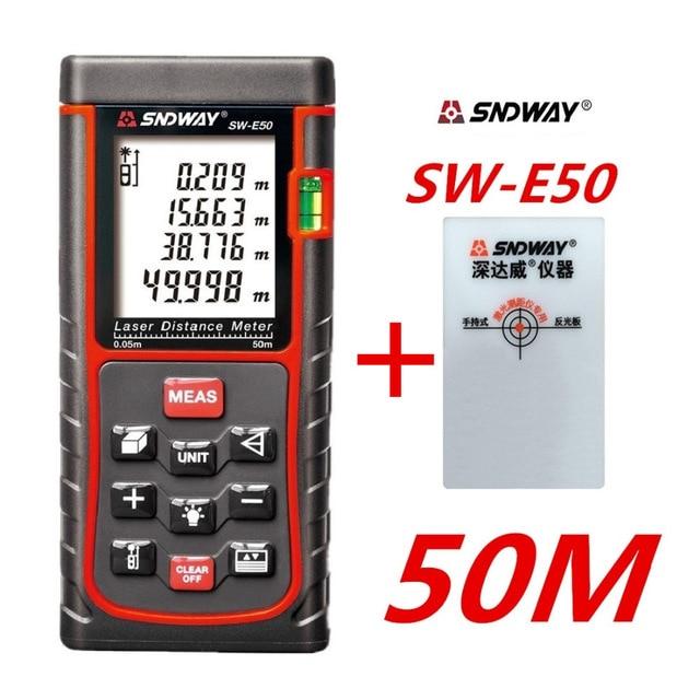 SNDWAY Digital de mano láser medidor de distancia 50 m telémetro SW-E50 ruleta regla rango buscador cinta métrica Área de volumen trena