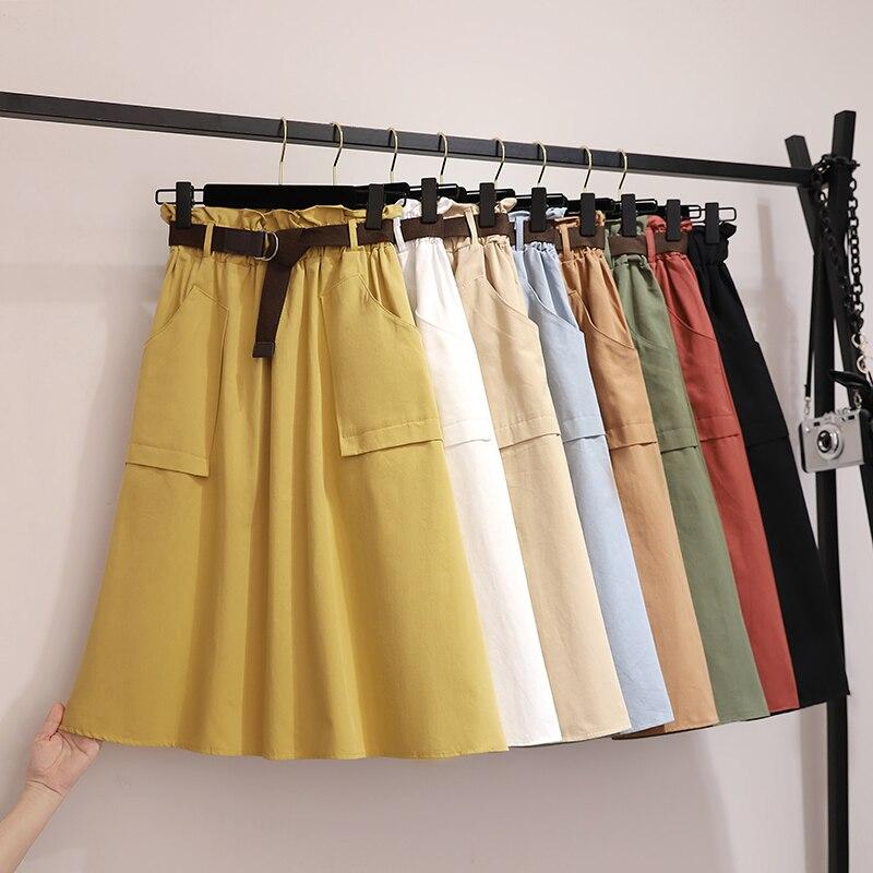 2019 Spring Summer Skirts Womens Big Pocket Elastic High Waist A Line Cotton Casual Midi Skirt With Belt Knee Length Women Skirt