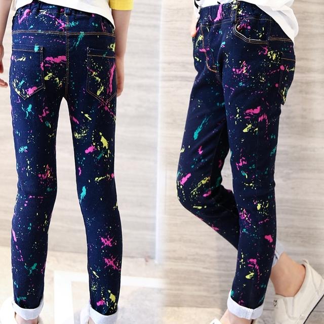 2016 del otoño del resorte niños ropa de algodón de impresión baby girl jean para niños niñas niños grandes delgado causales jeans pantalón largo