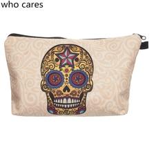 Hot Sale Cosmetic Bag Women Neceser Portable New Make Up Bag 3D Print Mexican Skull Organizer Bolsa feminina Travel Toiletry Bag