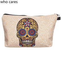 Hot Sale Cosmetic Bag Women Neceser Portable New Make Up Bag 3D Print Mexican Skull Organizer Bolsa feminina Travel Toiletry Bag