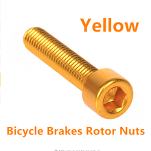 T6 Aluminium Alloy Bike Bicycle Disc Brakes Rotor Screw Bolts Nuts Torx For Cycling Headset M6x30mm Free Shipping yellow
