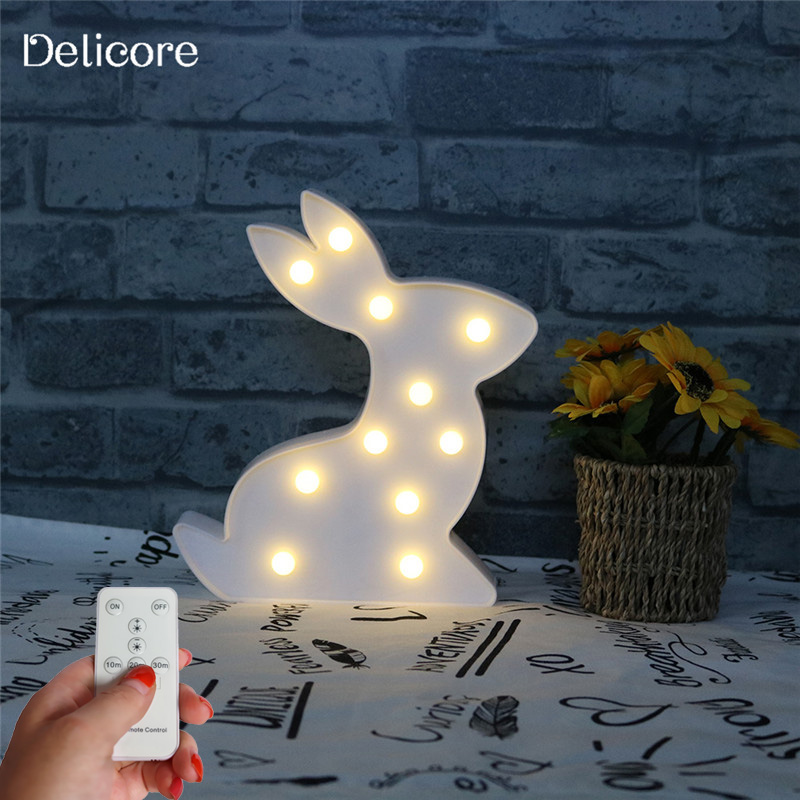 Luminaria 3D Marquee Unicorn Flamingo Remote Control Table LED Lamp Love Childrens Night Light Star Moon Cloud Heart Home Decor