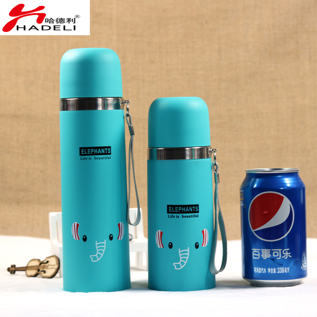 HADELI Lovely Cartoon Animal Pattern Vacuum Thermos Cup For Women Kids water  Bottle Stainless Steel Water Bottle Mug Child Cute c573b0984a