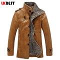 2017 Новых людей Кожаная Куртка ПУ зима теплая мужчины кожаное пальто шерсти лайнер повседневная пилот кожаная куртка бренд одежды (PY32)