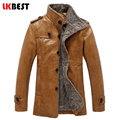 2017 Novos homens Jaqueta De Couro PU casaco de couro dos homens inverno quente forro de lã jaqueta de couro piloto roupas de marca casuais (PY32)