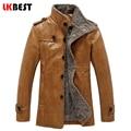 2017 Nueva Chaqueta de Cuero de LA PU de los hombres de invierno los hombres calientes de cuero revestimiento de lana de abrigo casual ropa chaqueta de cuero de piloto de la marca (PY32)