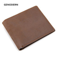GENODERN Slim Crazy Horse Leather Male Purses Thin Men Wallets Basic Cowhide Leather Wallet with Card Holder for Men
