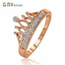 Gr. nerh princess crown продавая циркон обручальные позолоченный кольца топ женщин