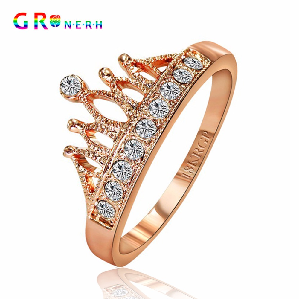 GR.NERH Top Selling High Quality Gold-color Princess Crown 10 PCS Zircon Rings Wedding Ring For Women