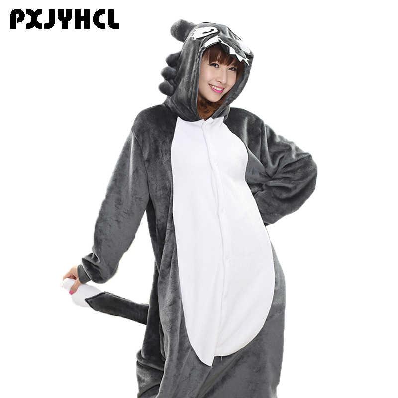 Серый Волк Аниме Kigurumi Комбинезоны для взрослых Для женщин на зиму 4c090e55d9c24