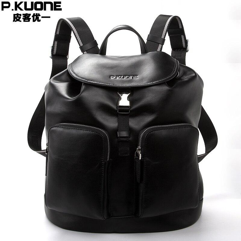 New Men 's Bag 100% Genine Leather Men Backpack Shoulder Bag Fashion Trave Backpacks Cowhide Men Leisure Backpack fashion hiking leisure men backpack