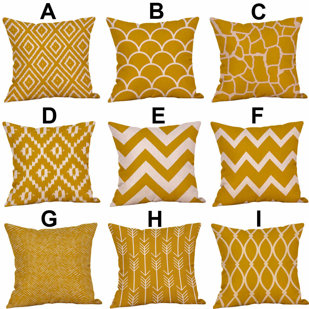 Printing Mustard Pillow Case Yellow Geometric Fall Autumn Cushion Cover Pillowcases Decorative Pillows 45cm*45cm 10Aug 15